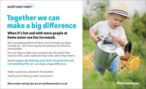 South East Water are asking for everyone's help to save water